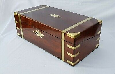 Antique Georgian c1815 military campaign brass bound mahogany writing slope