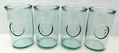 4 San Miguel 100% Authentic Recycled Glass Tumblers 16 oz green tint