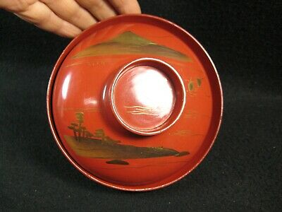 ANTIQUE JAPANESE c. 1890 HAND TURNED WOODEN RED LACQUER LIDDED BOWL MT FUJI
