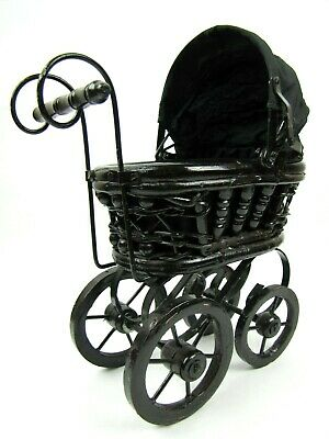 Vintage Baby Doll Stroller Wooden Wicker Metal Carriage Buggy Small Doll Pram 12