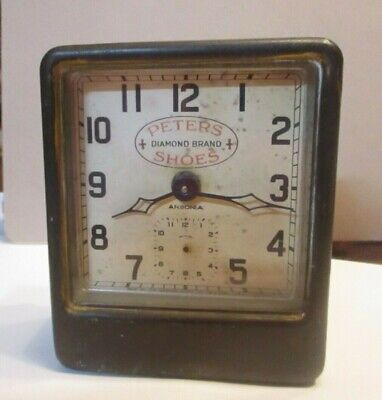 "Ansonia Alarm Clock Advertising / Not Running ""Peters Shoes""  Collectible"