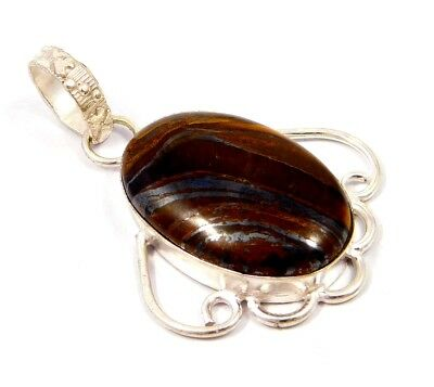 Gorgeous .925 Silver Plated Tiger's Eye Stone Pendant Festival Gift JC4772