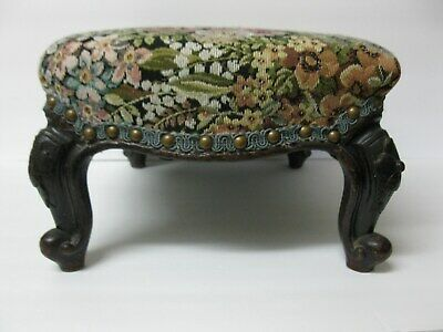French Country Louis XV Style Carved Walnut Small Petite Footstool