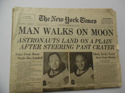 1969 MAN WALKS ON MOON New York Times Newspaper July 21 Apollo 11 City Edition