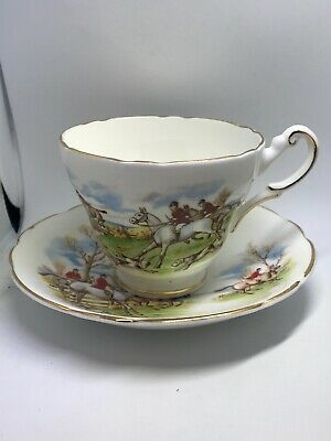 Regency Bone China Equestrian Cup and Saucer Set Made in England Lot 572