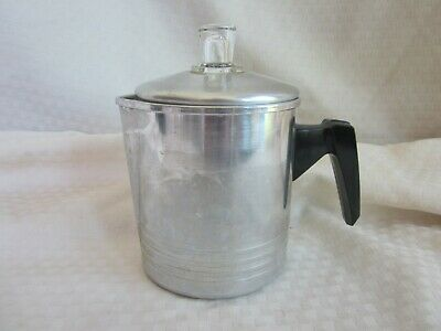 Vtg Aluminum 2 Cup Coffee Pot Percolator Stove Top Camping Hiking Backpack