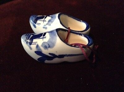 Vintage Ceramic Shoes Dutch, Holland, Norwegian, Delft Blue Fired Miniature