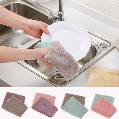 6pcs Anti-grease Dishcloth Duster Wash Cloth Hand Towel Cleaning Wiping Rags lx