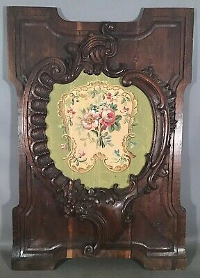 19thC Antique FRENCH VICTORIAN Carved ACANTHUS Wood PANEL Still Life PAINTING