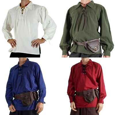 Medieval Pirate Shirts Mens Steampunk Cosplay Costume Autumn Tops Lace Up Shirt