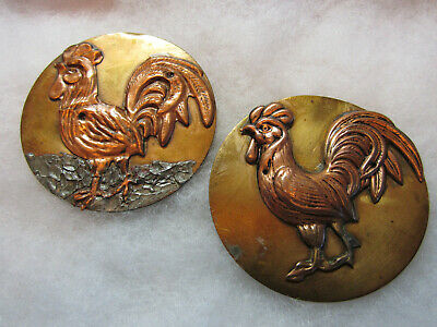 "Pair X Large 2 1/8"" Vintage Brass Bird/ Rooster Picture Buttons/ Studio ??"