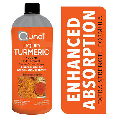 Qunol Liquid Turmeric 1000 mg Extra Strength Tropical Orange Flavor 60 Servings