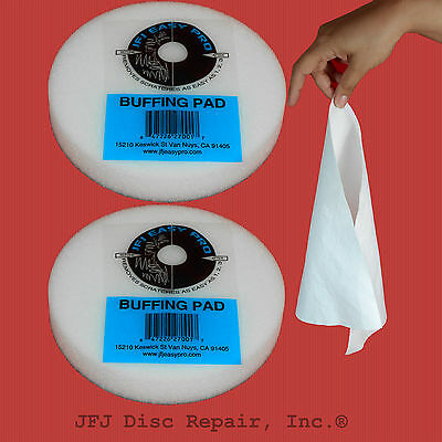 2 JFJ Pro Easy Buffing Pads - Plus 2 FREE REUSABLE CLOTHS