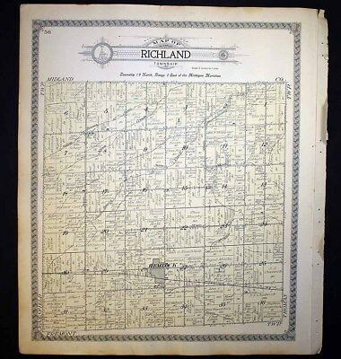 Richland or Jonesfield Township Merrill Hemlock Saginaw Michigan 1910 Plat Map
