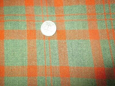 *SALE*    Vintage RED GREEN PLAID 1960's Heavy COTTON Fabric -shy 3 yd