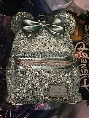 Disney Parks Loungefly FROZEN Arendelle Aqua Sequin Backpack New In Hand