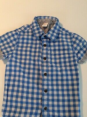 Adorable GYMBOREE Blue And White Checkered Short Sleeve Shirt Size 5T GUC