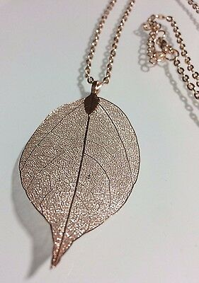 Rose Gold Plated Real Leaf Pendant Necklace Great Gift Jewelry Women Long Chain