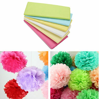 20 Sheets Tissue Paper Flower Wrapping Kids DIY Crafts Materials 6 Colors SE