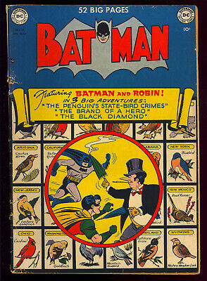 Batman #58 Nice Penguin Cover Golden Age DC Comic 1950 GD-VG