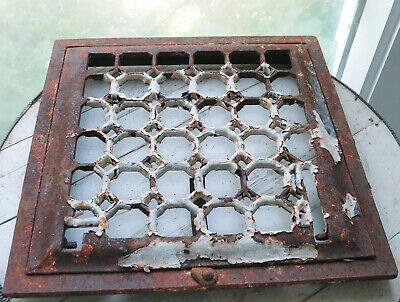 Cast Iron Ornate Wall Floor Register Vent Grate Cover w Frame Chippy Honeycomb