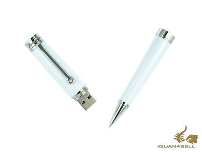 Montegrappa Parola Ballpoint pen, White resin, Chrome, USB 32 Gb, ISWOUSBW