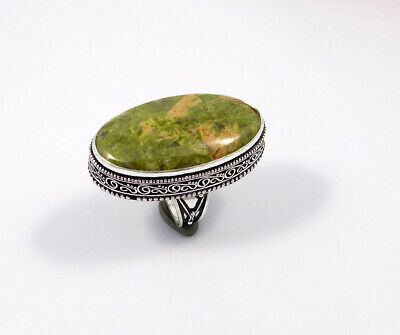 Unakite .925 Silver Plated Carving Ring Size-8.75 Jewelry JC7558