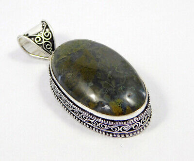AAA Green Moss Agate .925 Silver Plated Carving Pendant Jewelry JC7428