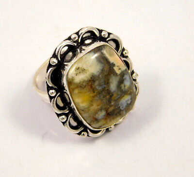 White Moss Agate .925 Silver Plated Handmade Ring Size-8 Jewelry JC3957