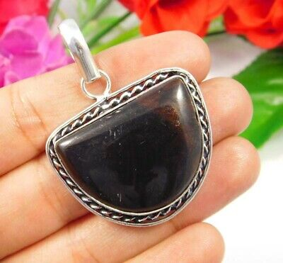 Black Eye Obsidian .925 Silver Plated Handmade Pendant Jewelry JC3775