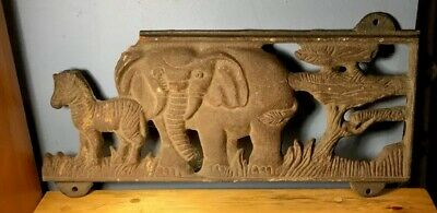 Antique Vtg Cast Iron Salvage Architectural Zebra Elephant In Relief Sign Plaqu
