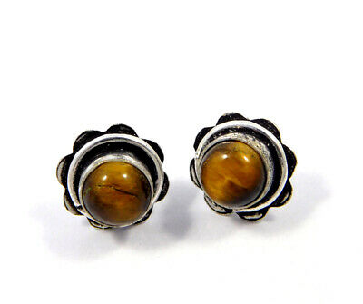 Tiger's Eye .925 Silver Plated Handmade Stud Earring Jewelry JC8191