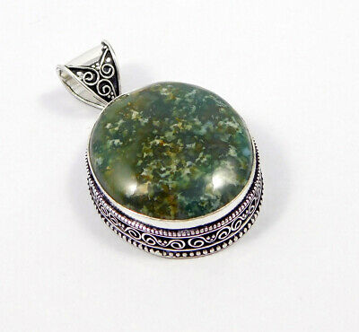 Green Moss Agate .925 Silver Plated Carving Pendant Jewelry JC7475