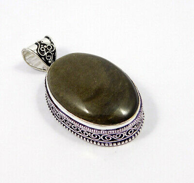 Silver Eye Obsidian .925 Silver Plated Carving Pendant Jewelry JC7503