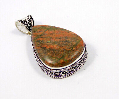 Unakite .925 Silver Plated Carving Pendant Jewelry JC7461