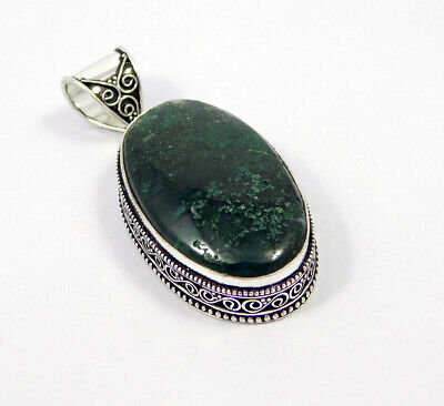 Green Moss Agate .925 Silver Plated Carving Pendant Jewelry JC7399