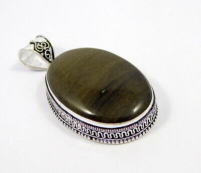 Silver Eye Obsidian .925 Silver Plated Carving Pendant Jewelry JC7393