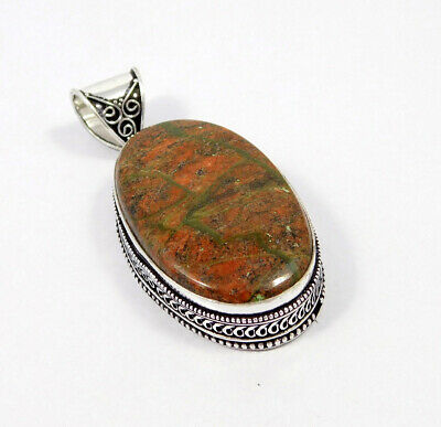 Unakite .925 Silver Plated Carving Pendant Jewelry JC7455