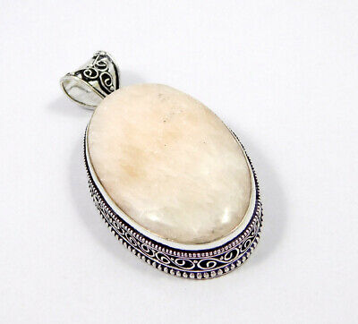 Scolecite .925 Silver Plated Carving Pendant Jewelry JC7445
