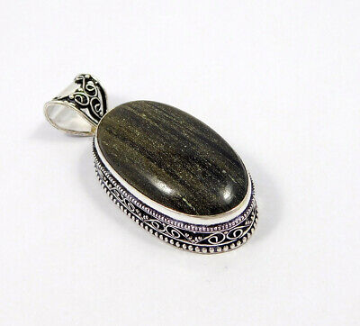 Silver Eye Obsidian .925 Silver Plated Carving Pendant Jewelry JC7504