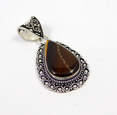 Tiger's Eye .925 Silver Plated Carving Pendant Jewelry JC7410