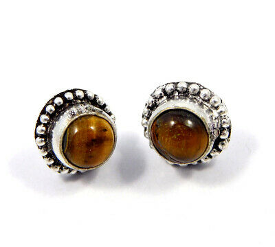 Tiger's Eye .925 Silver Plated Handmade Stud Earring Jewelry JC8204