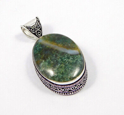 Green Moss Agate .925 Silver Plated Carving Pendant Jewelry JC7479
