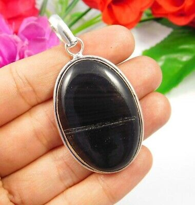 Black Eye Obsidian .925 Silver Plated Handmade Pendant Jewelry JC3837