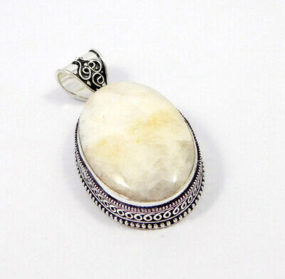 Scolecite .925 Silver Plated Carving Pendant Jewelry JC7437