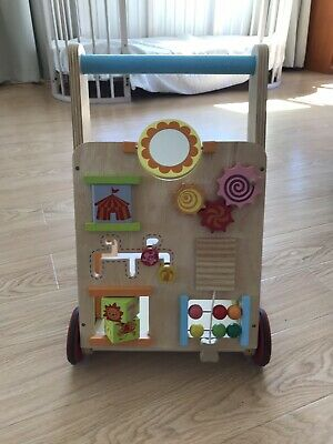 Wooden Baby First Walker with 10 Learning Activity Push Walker Toy