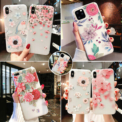 Apple iPhone 11 Pro Max Clear Frosted Flower Pattern Ultra Thin Soft Case Cover