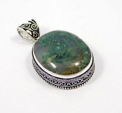 AAA Green Moss Agate .925 Silver Plated Carving Pendant Jewelry JC7398