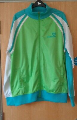 Sergio Tacchini - Lime Green And Blue Zipped Tracksuit Top  - X/Large