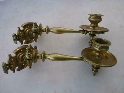 Pair Antique Brass Piano Or Wall Candle Sconses - Perfect Condition